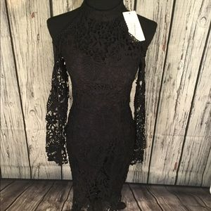Vera Lucy Black Fringe Cocktail lace Dress S